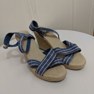 Nautica Light Blue Stripe Espadrille Wedges